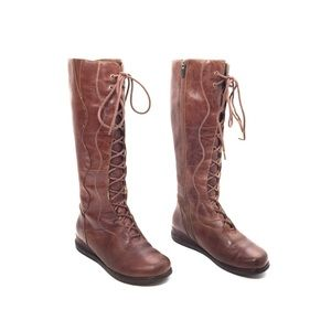 Dansko Cognac Leather Penelope Tall Lace Up Boots